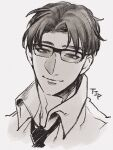 1boy apex_legends collared_shirt crypto_(apex_legends) glasses grey_background greyscale hair_behind_ear head_tilt highres looking_at_viewer male_focus monochrome mozuwaka necktie parted_hair shirt smile solo upper_body