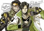2boys anger_vein annoyed apex_legends arm_around_shoulder artist_name black_eyes black_gloves black_hair black_shirt brown_eyes brown_hair clenched_teeth crypto_(apex_legends) dated english_text fingerless_gloves gloves green_sleeves green_vest jacket jewelry male_focus mirage_(apex_legends) mozuwaka multiple_boys necklace one_eye_closed partially_fingerless_gloves pointing pointing_up scar scar_across_eye scarf shirt speech_bubble spoken_anger_vein teeth v-shaped_eyebrows vest white_jacket