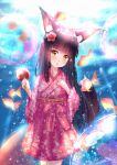 1girl alternate_costume animal_ears azur_lane bangs black_hair blunt_bangs candy candy_apple commentary_request eyebrows_visible_through_hair fish food fox_ears fox_girl fox_tail goldfish hakama head_tilt holding holding_candy holding_food in_water japanese_clothes long_hair looking_at_viewer m_ko_(maxft2) nagato_(azur_lane) parted_lips pleated_skirt sidelocks signature skirt solo tail water_drop yellow_eyes
