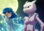 1girl akika_821 ambertwo_(pokemon) bangs blue_dress blue_hair blush closed_eyes closed_mouth commentary_request dress eyebrows_visible_through_hair eyelashes floating_hair gen_1_pokemon hand_up highres legendary_pokemon long_hair mewtwo moon outdoors pokemon pokemon_(anime) pokemon_(classic_anime) pokemon_(creature) pokemon_m01 red_ribbon ribbon sky smile sparkle star_(sky) tearing_up