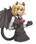 1girl ascot black_skirt blonde_hair blouse bow bowtie breasts cravat darkness dragon_girl dragon_horns dragon_tail dragon_wings dress_shirt druma fangs floating hair_bow hair_ribbon highres horns long_sleeves looking_at_viewer mata_(matasoup) necktie outstretched_arms red_bow red_eyes red_neckwear red_ribbon ribbon rumia scales shirt short_hair skirt skirt_set small_breasts smile spread_arms tail touhou vest waving_arm white_blouse white_shirt wing_collar wings