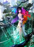 1girl bare_shoulders barefoot black_hair blue_flower bouquet closed_mouth colored_inner_hair colorful dress eyebrows_visible_through_hair fish flower fuzichoco highres holding holding_bouquet leaf long_dress long_hair looking_at_viewer mountain multicolored_hair no_shoes orange_flower original pool purple_flower purple_hair red_flower rose see-through see-through_dress solo standing strapless strapless_dress tree tree_branch two-tone_hair very_long_hair violet_eyes wading water waterfall wet white_dress