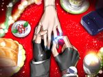 1boy 1girl apex_legends berry blue_nails bracelet bread close-up crypto_(apex_legends) fingerless_gloves food from_above gloves highres jewelry mozuwaka ring watch watch wattson_(apex_legends) wedding_ring