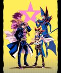 4boys absurdres belt black_hair blonde_hair blue_coat blue_headwear blue_pants buttons chain character_request clenched_hand coat commentary crossover dark_magician duel_disk eye_contact from_side hat highres jojo_no_kimyou_na_bouken looking_at_another multiple_boys open_clothes open_coat pants phil_vzq purple_shirt redhead shirt shoes spiky_hair spread_fingers standing yami_yuugi yu-gi-oh!