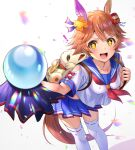 ! +_+ 1girl :d animal_bag animal_ears bangs blue_sailor_collar blue_skirt bow brown_hair clothing_cutout collarbone commentary_request confetti crystal_ball daruma_doll ear_covers hair_between_eyes hair_ornament highres holding holding_strap horse_ears horse_girl horse_tail leaning_forward looking_at_viewer maneki-neko matikanefukukitaru_(umamusume) miniskirt mizore_syrup motion_blur neckerchief open_mouth pleated_skirt red_bow red_neckwear sailor_collar school_uniform serafuku shiny shiny_hair short_hair short_sleeves shoulder_cutout sidelocks simple_background single_ear_cover skirt smile solo standing tail thigh-highs umamusume v-shaped_eyebrows white_background white_legwear yellow_eyes
