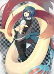 1boy :d apron black_pants blue_eyes blue_hair checkered checkered_background commentary_request cress_(pokemon) eyelashes gen_3_pokemon gym_leader hair_over_one_eye highres janis_(hainegom) long_sleeves looking_back male_focus milotic open_mouth pants pokemon pokemon_(creature) pokemon_(game) pokemon_bw shiny shiny_hair shirt smile tongue vest waist_apron white_apron white_shirt