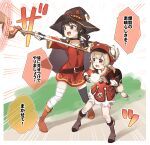 2girls :d backpack bag bag_charm bandaged_leg bandages bangs black_cape black_collar black_footwear black_gloves black_hair black_headwear black_legwear bloomers blush boots brown_eyes brown_footwear brown_gloves cabbie_hat cape charm_(object) choker collar collarbone commentary_request crossover dodoco_(genshin_impact) dress emphasis_lines eyebrows_visible_through_hair feathers fingerless_gloves full_body genshin_impact gloves hat hat_feather hat_ornament highres holding holding_staff klee_(genshin_impact) knee_boots kneehighs kono_subarashii_sekai_ni_shukufuku_wo! light_brown_hair long_hair long_sleeves looking_away low_twintails megumin multiple_girls off-shoulder_dress off_shoulder open_mouth orb pointy_ears red_dress red_eyes red_headwear revision ribbed_legwear scarf short_hair sidelocks single_thighhigh smile staff standing thigh-highs trait_connection translated twintails underwear v-shaped_eyebrows white_feathers white_legwear witch_hat yukie_(kusaka_shi)