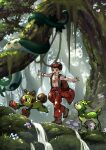 1boy alternate_costume amakara000 amoonguss backpack bag black_hair boots brown_bag celebi clothes_around_waist day deerling expedition_uniform forest gen_2_pokemon gen_5_pokemon gen_8_pokemon helmet highres jacket jacket_around_waist male_focus moss mushroom mythical_pokemon nature open_mouth orange_pants outdoors outstretched_arms pokemon pokemon_(creature) pokemon_(game) pokemon_swsh serperior shirt short_hair short_sleeves smile standing symbol_commentary t-shirt teeth thwackey tree victor_(pokemon) walking water white_shirt
