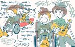 2boys braces brown_hair cape crutch haku_le hat instrument jimmy_valmer lute_(instrument) multiple_boys music open_mouth orange_hair paper_hat playing_instrument short_hair sitting smile south_park south_park:_the_stick_of_truth timmy_burch translation_request wheelchair