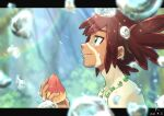 1boy bead_necklace beads blurry blurry_background blush brown_hair closed_mouth collarbone commentary_request crying dark_skin dark_skinned_male eyelashes fingernails from_side hair_tie highres holding jewelry koko_(pokemon) letterboxed looking_up male_focus mato. necklace outside_border pokemon pokemon_(anime) pokemon_m23 shirtless smile solo sparkle tears tied_hair upper_body water_drop