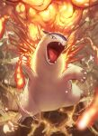 commentary_request fangs fire from_above gen_2_pokemon highres no_humans open_mouth pokemon pokemon_(creature) red_eyes solo spareribs standing toes tongue typhlosion