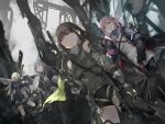 4girls absurdres ak-12 ak-12_(girls_frontline) an-94 an-94_(girls_frontline) ar-15 assault_rifle blonde_hair blue_eyes brown_hair casing_ejection closed_eyes defy_(girls_frontline) dutch_angle firing girls_frontline gloves gun highres holding holding_gun holding_weapon huge_filesize jacket m4_carbine m4a1_(girls_frontline) mask mask_around_neck mod3_(girls_frontline) multiple_girls pink_eyes pink_hair rifle ruins scarf shell_casing silver_hair st_ar-15_(girls_frontline) weapon yellow_eyes zen_juraku