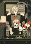 1boy 1girl bangs black_coat black_eyes blonde_hair bow brown_shirt closed_eyes coat collared_shirt drawer flower glasses hair_bow hands_up height_difference highres indoors keishin lamp limited_palette long_sleeves mirror necktie original parted_lips red_bow red_flower red_neckwear shirt short_hair smile vase white_flower