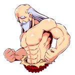 1boy abs beard clenched_hands commentary_request cropped_torso facial_hair grey_hair highres long_hair male_focus monk_(sekaiju) mustache naga_u sekaiju_no_meikyuu sekaiju_no_meikyuu_3 shirtless simple_background solo thick_eyebrows upper_body white_background