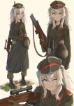 1girl absurdres aiming animal_ears binoculars boots earrings eyebrows_visible_through_hair hat helmet highres holding holding_weapon hololive huge_filesize jewelry jl_tan military military_hat military_uniform one_eye_closed shishiro_botan standing uniform virtual_youtuber weapon weapon_on_back weapon_request white_hair