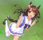 1girl ;d alternate_costume animal_ears blush bow brown_eyes brown_hair double_v grass green_background hair_bow horse_ears horse_girl horse_tail idolmaster idolmaster_cinderella_girls kemonomimi_mode leg_up loafers long_hair looking_at_viewer natsuya one_eye_closed one_side_up open_mouth pleated_skirt sailor_collar school_uniform shimamura_uzuki shoes short_sleeves skirt smile solo sparkle striped striped_legwear tail thigh-highs tracen_school_uniform umamusume v white_legwear white_skirt
