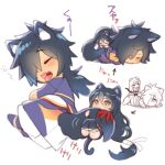 :3 animal_ears arrow_(symbol) black_hair cat_ears cat_tail chibi closed_eyes couple folks_(nabokof) girl_on_top hair_over_one_eye japanese_clothes kemonomimi_mode long_hair lying lying_on_person multiple_views on_stomach rokurou_rangetsu simple_background sleeping tail tail_hug tales_of_(series) tales_of_berseria velvet_crowe wavy_mouth yawning yellow_eyes