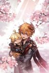 2boys aether_(genshin_impact) ahoge bangs black_gloves blonde_hair blue_eyes braid carrying cherry_blossoms chibi closed_eyes day genshin_impact gloves hair_between_eyes jacket jewelry long_hair long_sleeves male_focus mask mask_on_head multiple_boys no_mouth open_mouth outdoors petals qi2341 red_scarf scarf single_braid single_earring tartaglia_(genshin_impact) twitter_username