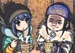 2girls ainu ainu_clothes asirpa black_eyes black_hair blue_hair cape curry earrings food fur_cape golden_kamuy hat highres hoop_earrings jacket jewelry long_sleeves multiple_girls n2midori scarf shima_rin violet_eyes winter_clothes yurucamp