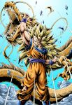 1boy ankle_boots blonde_hair blue_background blue_footwear blue_wristband boots building clenched_hands closed_mouth dougi dragon dragon_ball dragon_ball_z emphasis_lines feet_out_of_frame floating_rock gradient gradient_background green_eyes hand_up highres legs_apart long_hair looking_at_viewer male_focus no_eyebrows open_mouth pants paws pectorals rock serious sharp_teeth shirt simple_background son_goku spiky_hair standing super_saiyan super_saiyan_3 teeth torn_clothes torn_pants torn_shirt very_long_hair whiskers wristband youngjijii