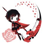 1girl bangs black_dress black_eyes black_footwear black_hair cape chibi closed_mouth cobalta corset crescent_rose cross cross-laced_footwear dress flower full_body holding holding_scythe long_sleeves looking_at_viewer petals pink_flower pink_rose red_cape red_legwear rose rose_petals ruby_rose rwby scythe short_hair simple_background smile solid_oval_eyes solo white_background