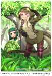 2girls african_rock_python_(kemono_friends) animal_print arm_up bangs bare_shoulders black_gloves blonde_hair blunt_bangs boots border company_name copyright day drawstring elbow_gloves eyebrows_visible_through_hair fern furrowed_eyebrows gloves green_hair green_skirt grin hand_on_hip happa_(cloverppd) hood hood_up hooded_jacket jacket kemono_friends knee_boots leaning_forward long_hair long_sleeves looking_afar looking_at_another microskirt multicolored_hair multiple_girls necktie official_art open_mouth outdoors plant pleated_skirt print_jacket purple_hair red-eared_slider_(kemono_friends) redhead shading_eyes shirt sidelocks skirt sleeveless sleeveless_shirt smile snake_tail snakeskin_print standing tail tree turtle_shell two-tone_hair undershirt vest violet_eyes zipper