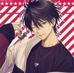 1boy ;) album_cover bangs bird black_hair black_shirt bremen charm_(object) chicken commentary_request company_name cover diagonal_stripes earrings fingernails hair_between_eyes hanajima_kanato hand_up jacket jewelry looking_at_viewer male_focus mashima_shima mole mole_under_mouth necklace official_art one_eye_closed open_clothes open_jacket outline parted_lips pendant red_background red_eyes rooster second-party_source shirt short_hair sleeves_past_wrists smile solo star_(symbol) starry_background striped striped_background upper_body white_jacket white_outline