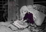 1girl black_shirt bracelet frilled_pillow frills ghost greyscale indoors jewelry long_hair long_sleeves monochrome original ouija pillow pink_eyes shirt sitting solo spot_color under_covers upper_body white_hair window woraya_chotikul