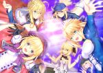 ahoge artoria_pendragon_(all) artoria_pendragon_(caster)_(fate) artoria_pendragon_(lancer)_(fate) black_gloves blonde_hair blue_dress blue_eyes braid breasts capelet cloak dress fate/grand_order fate_(series) gloves green_eyes hairband hat looking_at_viewer mysterious_heroine_x_(fate) mysterious_heroine_xx_(fate) neko_daruma open_mouth ponytail ribbon saber saber_lily smile sunlight swimsuit white_dress white_gloves yellow_eyes