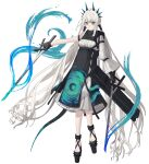1girl absurdly_long_hair absurdres aqua_eyes bangs black_footwear black_gloves dress fingerless_gloves full_body gloves highres holding holding_sword holding_weapon long_hair original pointy_ears rairyuu simple_background single_sleeve solo standing sword twintails very_long_hair weapon white_background white_hair