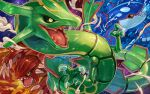 black_sclera claws colored_sclera commentary_request dragon eastern_dragon fire gen_3_pokemon groudon highres kyogre legendary_pokemon no_humans open_mouth outline pokemon pokemon_(creature) rayquaza sharp_teeth spikes tapioka_chaso teeth tongue water yellow_eyes