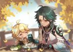 2boys aether_(genshin_impact) ahoge aqua_hair armor asymmetrical_clothes bangs bead_necklace beads black_hair blonde_hair blurry blurry_background braid chibi closed_mouth day eyebrows_visible_through_hair facial_mark flower food food_on_face forehead_mark genshin_impact gloves holding holding_spoon jewelry leaf long_hair multicolored_hair multiple_boys necklace no_mouth outdoors plate qi2341 shoulder_armor single_braid spikes spoon table tassel twitter_username vision_(genshin_impact) white_flower xiao_(genshin_impact) yellow_eyes