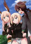 3girls absurdres animal_ears artist_request blonde_hair blue_eyes blush breasts brown_eyes brown_hair dog_ears erica_hartmann eyebrows_visible_through_hair gertrud_barkhorn hair_ornament hair_ribbon hanna-justina_marseille highres medium_breasts military military_uniform multiple_girls official_art open_mouth outdoors panties ribbon short_hair skirt sky small_breasts strike_witches sweat twintails underwear uniform white_panties white_skirt wing_ears world_witches_series