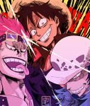 3boys artist_name black_hair blue_hair brown_eyes commentary diffraction_spikes english_commentary eustass_captain_kid facial_hair furrowed_eyebrows goatee goggles goggles_on_head grin hat highres long_sideburns male_focus monkey_d._luffy multiple_boys one_piece open_mouth pink_eyes pink_hair print_headwear purple_lips scar scar_across_eye short_hair sideburns smile straw_hat taku_(aywakutakuay) teeth tongue tongue_out trafalgar_law white_eyes white_headwear