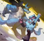 arm_up blue_fur claws clenched_teeth commentary fangs furry gen_4_pokemon lucario open_mouth pokemon pokemon_(creature) popodunk red_eyes riolu signature smile teeth toes tongue yellow_fur