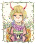 1girl blonde_hair chain chain_necklace green_eyes horns jewelry leaf looking_at_viewer multicolored multicolored_eyes necklace original plant red_eyes runta short_hair solo traditional_media upper_body vines watercolor_(medium) yellow_eyes