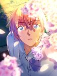 1boy amuro_tooru bangs blonde_hair blue_eyes blurry blurry_foreground buttons cherry_blossoms collared_shirt commentary_request crying crying_with_eyes_open eyebrows_visible_through_hair falling_petals hair_between_eyes looking_at_viewer looking_up male_focus maruko_11 meitantei_conan official_style outdoors parted_lips petals shirt short_hair solo tears upper_body white_shirt