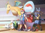 1boy ash_ketchum bangs baseball_cap black_hair blue_jacket brown_eyes closed_mouth dracovish dragonite gen_1_pokemon gen_4_pokemon gen_8_pokemon gengar hat highres holding holding_poke_ball jacket lucario male_focus mei_(maysroom) on_shoulder open_clothes open_jacket pikachu poke_ball poke_ball_(basic) pokemon pokemon_(anime) pokemon_(creature) pokemon_on_shoulder pokemon_swsh_(anime) shirt shoes short_sleeves shorts signature sirfetch'd sleeveless sleeveless_jacket smile stadium standing t-shirt white_shirt