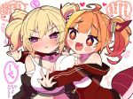 +_+ 2girls ahoge bangs bare_shoulders black_choker black_jacket blonde_hair blush blush_stickers bow breast_press breasts camisole choker coco_kaine collarbone commentary_request crop_top diagonal-striped_bow dragon_girl dragon_horns dragon_tail earrings eyebrows_visible_through_hair eyes_visible_through_hair fang frilled_camisole hair_intakes heart heart_earrings highlights highres hololive horn_bow horns jacket jewelry kiryu_coco large_breasts long_sleeves looking_at_another looking_to_the_side medium_hair midriff mole mole_under_eye multicolored_hair multiple_girls navel off_shoulder official_alternate_costume open_clothes open_jacket open_mouth orange_hair outstretched_arms parted_lips partially_unzipped pointy_ears red_eyes red_jacket shirt sidelocks simple_background skin_fang sleeveless sleeveless_shirt speech_bubble streaked_hair striped striped_bow symbol_commentary tail tied_hair track_jacket translation_request upper_body violet_eyes virtual_youtuber white_background white_camisole yukito_(hoshizora) zipper_pull_tab