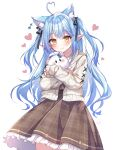1girl absurdres ahoge animal_ear_fluff animal_ears bangs black_ribbon blue_hair blush brown_dress cardigan cat_ears closed_mouth commentary_request cowboy_shot dated dress eyebrows_visible_through_hair frilled_dress frills hair_ribbon heart heart_ahoge highres hololive kashiba_aira long_hair long_sleeves looking_at_viewer official_alternate_costume open_cardigan open_clothes plaid plaid_dress pointy_ears ribbon sidelocks signature simple_background solo standing two_side_up very_long_hair virtual_youtuber white_background white_cardigan yellow_eyes yukihana_lamy