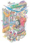 1girl aqua_eyes brown_hair brown_skirt leaf long_sleeves orange_pants original plant pleated_skirt runta shoes short_hair sitting skirt solo tassel traditional_media watercolor_(medium)