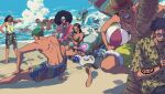 2girls 6+boys afro annoyed aqua_hair arm_tattoo back barefoot beach beach_chair beach_umbrella bepo bikini black_hair blonde_hair blue_sky brook camisole closed_eyes day dutch_angle extra_arms eyewear_on_head fan fishman franky friends furry green_hair grin hat height_difference highres impossible_hair jet_ski jimbei long_hair looking_at_another lying male_swimwear monkey_d._luffy multiple_boys multiple_girls nami_(one_piece) nico_robin ocean on_back one_piece outdoors penguin_(one_piece) pointing pointing_at_self roronoa_zoro sanji scar scar_on_cheek scar_on_face shachi_(one_piece) shirt short_hair shorts sitting skeleton skull sky smile splashing standing straw_hat stretch summer sunglasses swimsuit swimwear tattoo toes tongue tongue_out tony_tony_chopper umbrella usopp v-shaped_eyebrows water x_x zhi_(okkyoyo)
