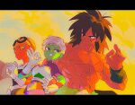 1girl 2boys abs armor backlighting beanie belt black_belt black_eyes black_hair black_wristband bodysuit breasts broly_(dragon_ball_super) cheelai clenched_teeth closed_mouth clouds cloudy_sky colored_sclera colored_skin commentary day domu_(hamadura) dragon_ball dragon_ball_super dragon_ball_super_broly expressionless facing_viewer gloves goggles goggles_on_head green_skin grey_hair grin hand_on_hip hand_up hat lemo_(dragon_ball) letterboxed light_smile lineup looking_at_another looking_back looking_down medium_breasts medium_hair multiple_boys muscular muscular_male nipples ok_sign orange_skin outdoors pectorals purple_bodysuit scar scar_on_cheek scar_on_chest scar_on_face shirtless short_hair signature sky smile spiky_hair sunlight symbol_commentary teeth tsurime v-shaped_eyebrows very_short_hair violet_eyes white_gloves wristband yellow_headwear yellow_sclera yellow_sky