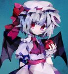 1girl apple bat_wings blue_hair commentary dress english_commentary food fruit green_background hand_up hat hat_ribbon highres holding holding_food holding_fruit looking_at_viewer mob_cap pink_dress pink_headwear red_eyes red_neckwear red_ribbon remilia_scarlet ribbon short_hair short_sleeves solo soresaki touhou wings wrist_cuffs