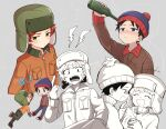 2boys anger_vein beanie black_hair blue_eyes blush bottle brown_jacket chibi drunk fur_hat gloves green_eyes haizai hat jacket kyle_broflovski middle_finger multiple_boys open_mouth orange_jacket redhead short_hair south_park stan_marsh ushanka