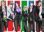 2girls 4boys ahoge bangs black_bow black_hair black_scarf black_suit blonde_hair blue_eyes book_12 bow bowl_cut breasts business_suit eyewear_on_head fate/grand_order fate_(series) formal grey_hair highres hijikata_toshizou_(fate) katana koha-ace large_breasts long_hair looking_at_viewer low-tied_long_hair minamoto_no_raikou_(fate) multiple_boys multiple_girls necktie okita_souji_(fate) okita_souji_(fate)_(all) pant_suit parted_bangs purple_hair red_eyes saitou_hajime_(fate) sakata_kintoki_(fate) scarf shinsengumi skirt_suit suit sunglasses sword very_long_hair violet_eyes watanabe_no_tsuna_(fate) weapon yellow_eyes