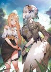 2girls ass atelier_(series) atelier_ryza atelier_ryza_2 bare_shoulders black_skirt blonde_hair blue_sky blurry blurry_background breasts clouds cloudy_sky day highres klaudia_valentz large_breasts long_hair looking_at_viewer multiple_girls official_art outdoors pale_skin serri_glaus skirt sky toridamono