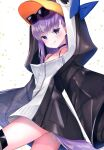 1girl absurdres animal_hood blue_eyes fate/grand_order fate_(series) highres hood licking_lips long_hair meltryllis_(fate) meltryllis_(swimsuit_lancer)_(fate) penguin_hood purple_hair sitting sleeves_past_fingers sleeves_past_wrists smile suzuho_hotaru tongue tongue_out very_long_hair white_background