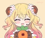 1girl ^_^ animal_ears arm_garter bear_ears bear_girl bear_paws blonde_hair blush_stickers chibi closed_eyes commentary english_commentary facing_viewer fang frilled_shirt frills gloves gradient_hair green_eyes headset hololive kukie-nyan long_hair momosuzu_nene multicolored_hair nekko_(momosuzu_nene) open_mouth paw_gloves paws pink_hair shirt sleeveless sleeveless_shirt smile solo twitter_username two_side_up virtual_youtuber |d