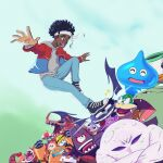 1boy afro album_cover artist_self-insert black_footwear black_hair blue_jacket brown_eyes character_request cover crossed_arms crossover crying crying_with_eyes_open daisothefourth dark_skin dark_skinned_male denim dragon dragon_quest gen_2_pokemon grey_sweater headband highres jacket jeans junior_clown_car kirby_(series) larry_koopa mario_(series) marx mega_man_(series) one-eyed open_hands open_mouth pants parody piranha_plant pokemon pokemon_(game) rayman rayman_origins red_jacket slime_(dragon_quest) smile solo_focus sweater tears two-tone_jacket tyranitar umbrella waddle_dee white_headband